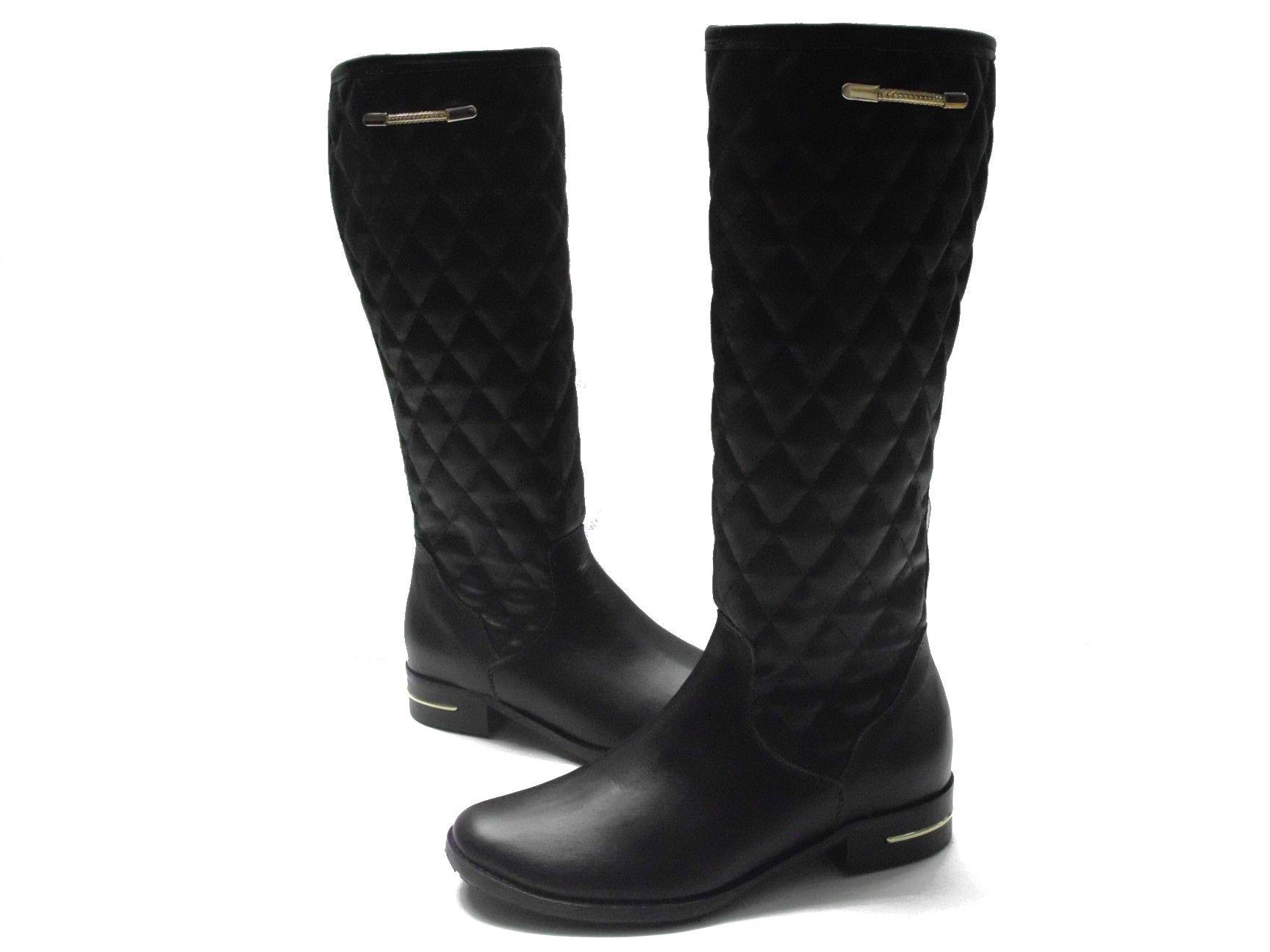 Kozaki Zimowe Czarne Skora Naturalna Wzor Pikowany Zlote Wstawki Boots Riding Boots Rubber Rain Boots