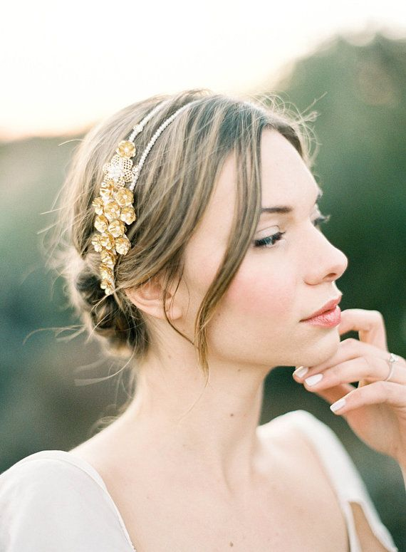 Gold Flower Romantic Wedding Double Headband With Pearls And Crystals Clara