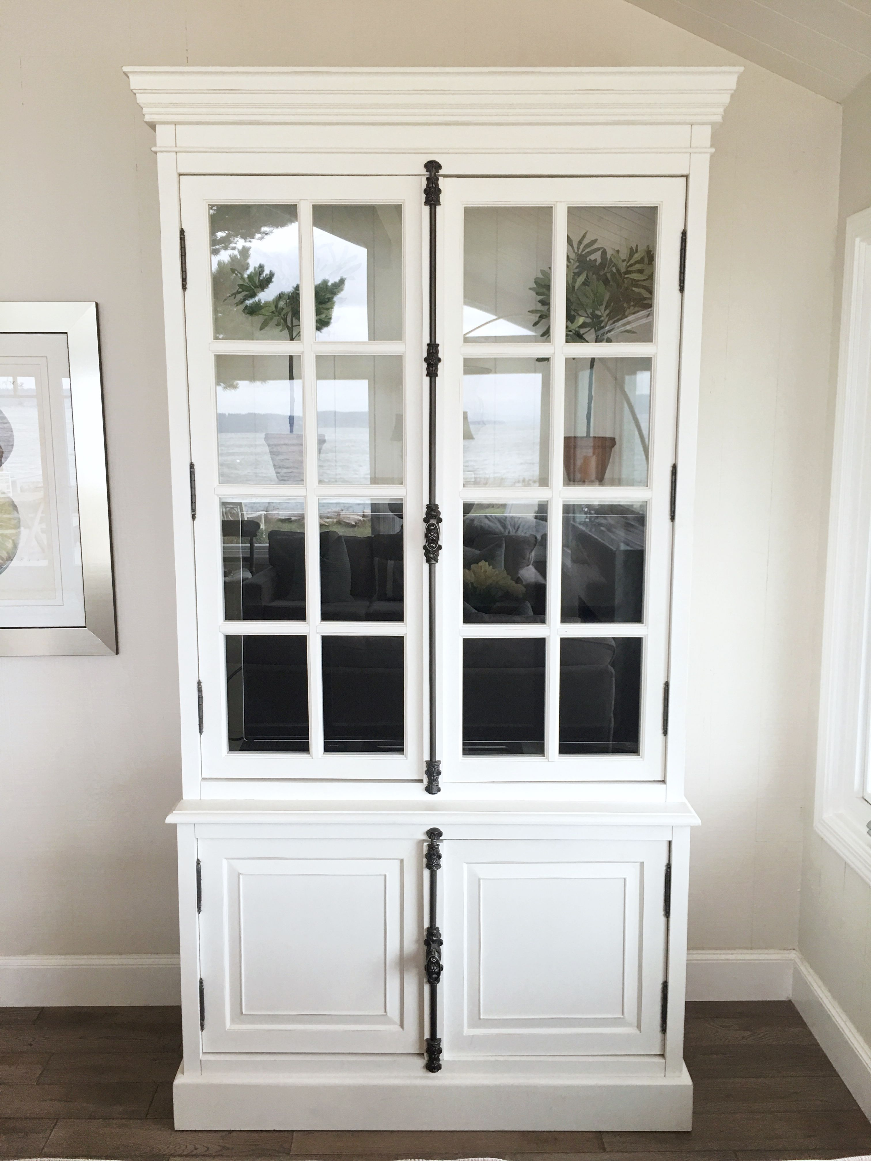 White Display Cabinet With Cremone Bolt Coastal Style