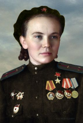 Nina Ulyanenko  Commander of the unit (deputy leader) of the 46th Guards Night Bomber Regiment of the 325th Night Bomber Division of the 4th Air Army of the 2nd Belorussian Front, Guard lieutenant. Hero of the Soviet Union.   On the fronts of the WW2 since May 1942. Crew navigator, unit navigator, later - a pilot, commander of 46 Taman Guards Night Bomber Regiment. During the years of WW2 has made 915 sorties to bomb manpower and equipment of the enemy.