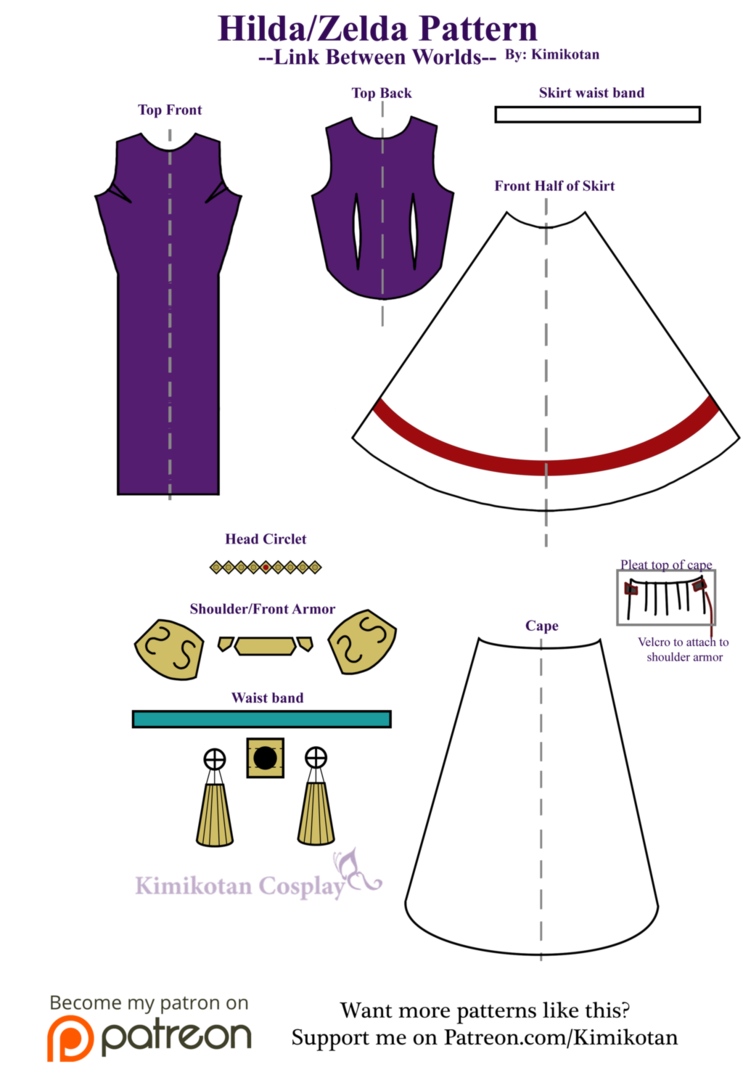 Cosplay Pattern: Hilda/Zelda from Link Between Worlds A layout of ...