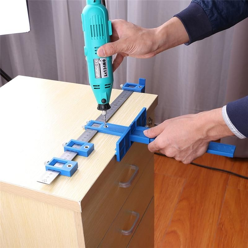 Drill Hole Locator Adjustable Position Ruler Drilling Holes Power Punch Locator