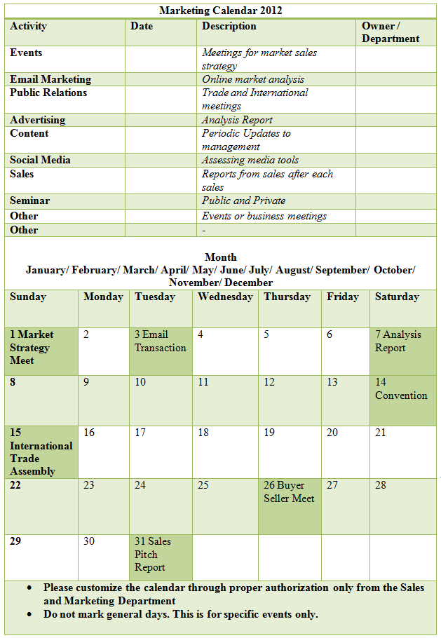Sample Marketing Calendar Template Xamples Of This Calendar That