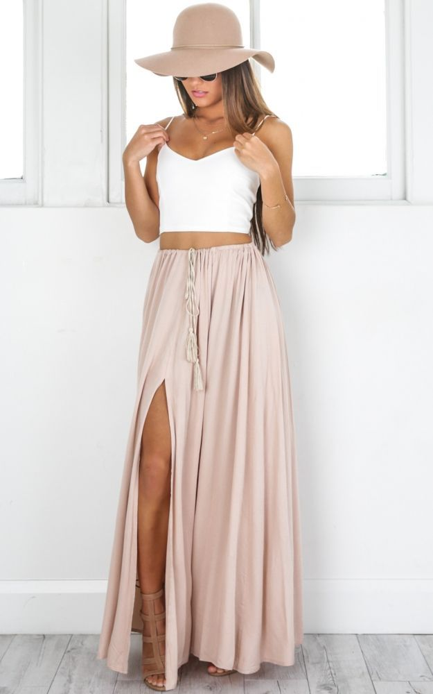 Photo of Under The Twilight Maxi Skirt In Beige Produced By SHOWPO