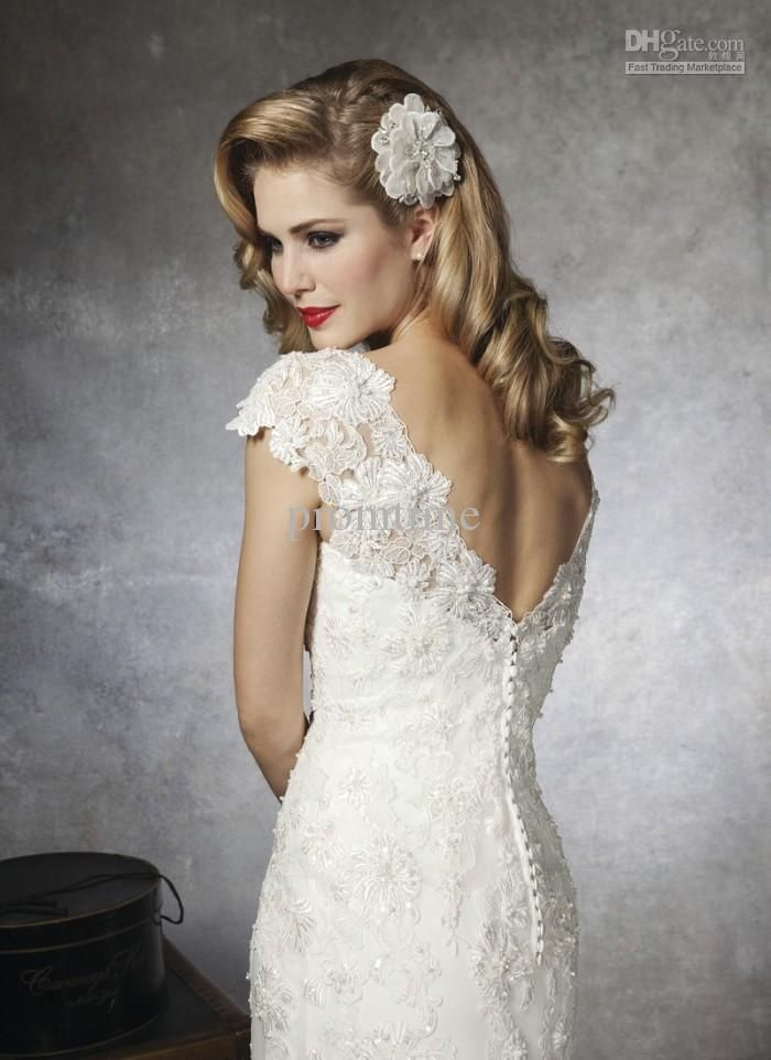 2013 High Fashion Ivory Beaded Lace Open Back Chapel Cape Sleeve Wedding Dresses Gown WD248