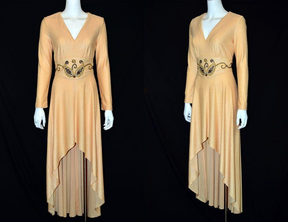 Vintage 1970 Beige Gold Hi Lo Evening Cocktail Party Dress Gown ...