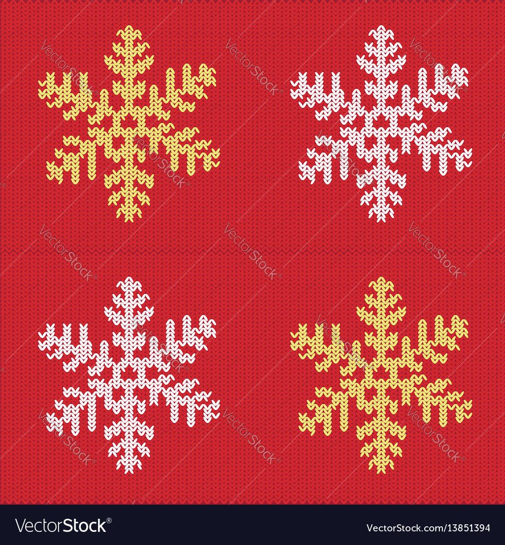 Knitted snowflake pattern vector image on | Sweater design ...