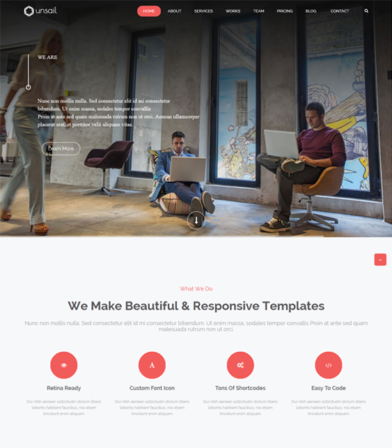 This one page WordPress theme includes over 400 Font