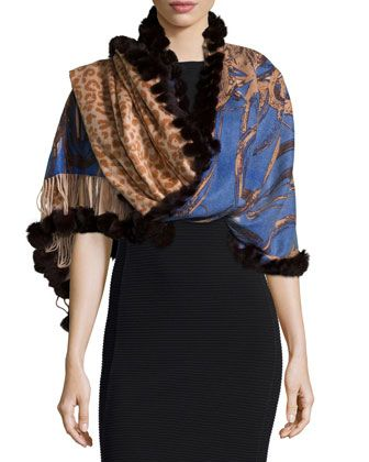 Fur-Trim+Animal-Print+Cashmere+Wrap,+Brown+by+Gorski+at+Neiman+Marcus+Last+Call.