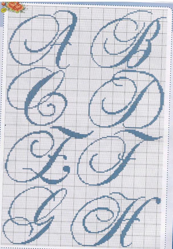 Monograma ponto cruz (A, B, C, D, E, F, G e H) …   Motivos en Punto ...