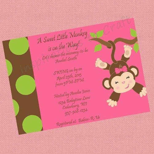 girl monkey jungle monkeys baby shower printable diy party, Baby shower invitation