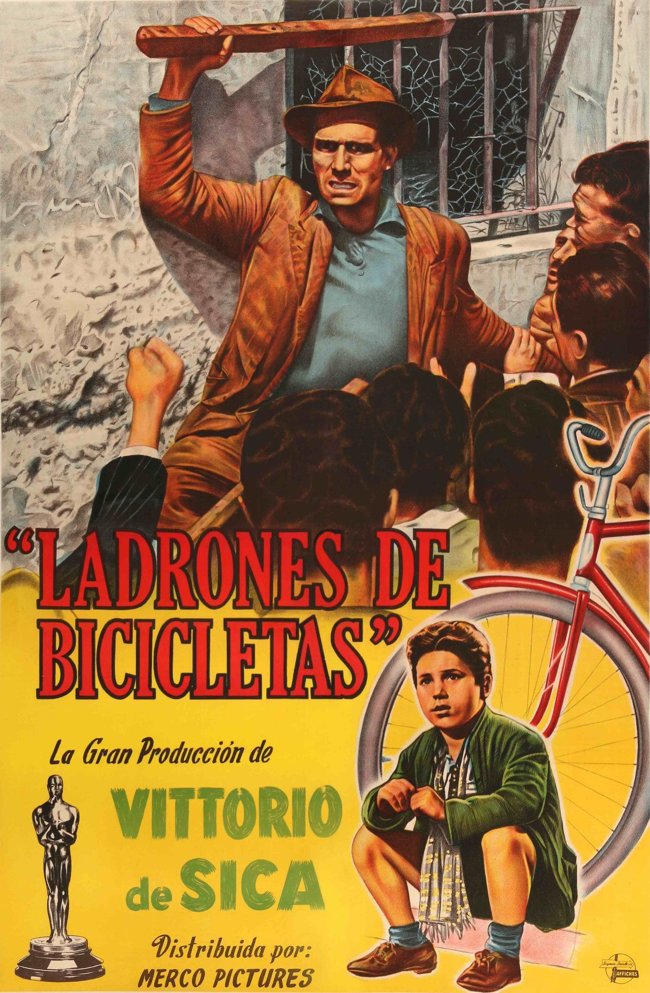 vintage Movie  advertising Poster reproduction. Bicycle Thief