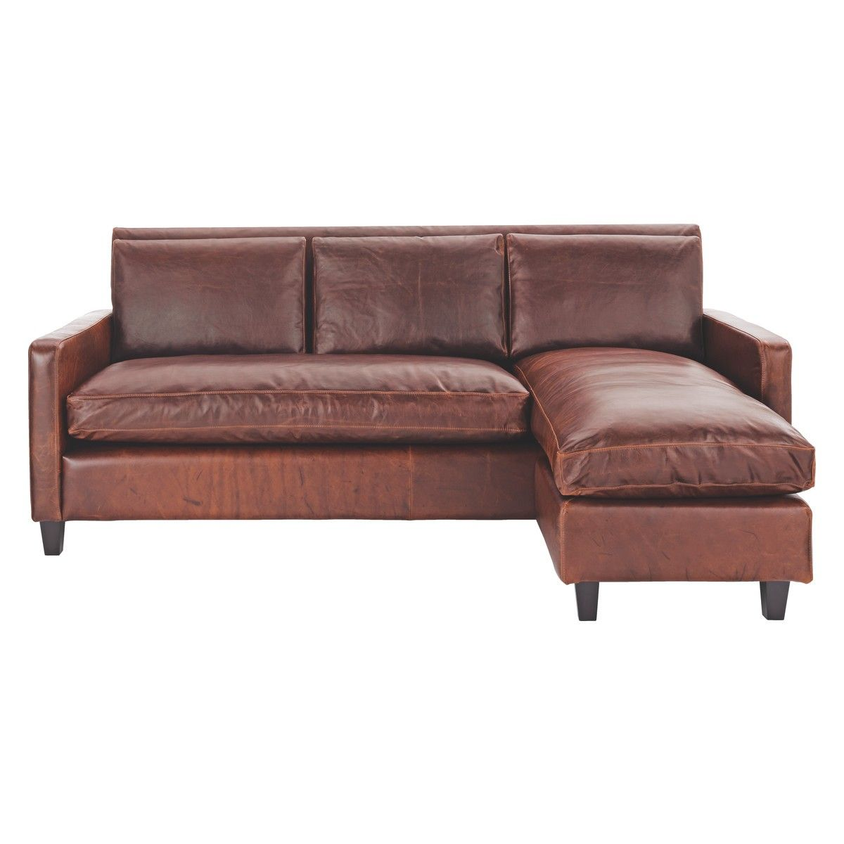 CHESTER Tan Leather 3 Seater Chaise Sofa, Dark Stained Feet