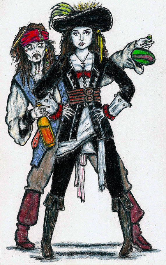RUM and WOMEN  Jack Sparrow and Angelica by LittleEnithandSons