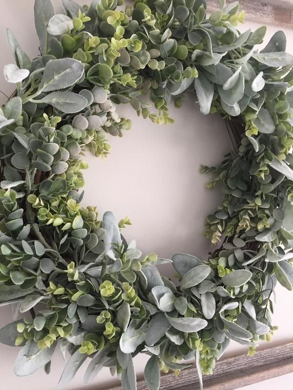 Photo of Eucalyptus Wreath – Lambs Ear Wreath – Fireplace Wreath – Wreath for Dining Room – Dining Room Wreath – Wreath for Fireplace – Wall Wreath