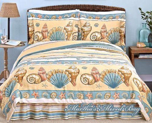 Seashell Beige Comforter Set Tropical, Tropical Beach Bedding