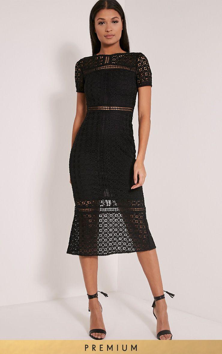 Midira premium black crochet lace midi dress anica pinterest