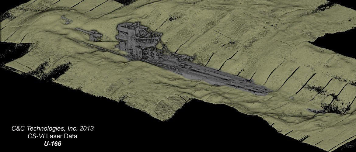 A 3-D map rendering of U-166 & the way it lies at the ...