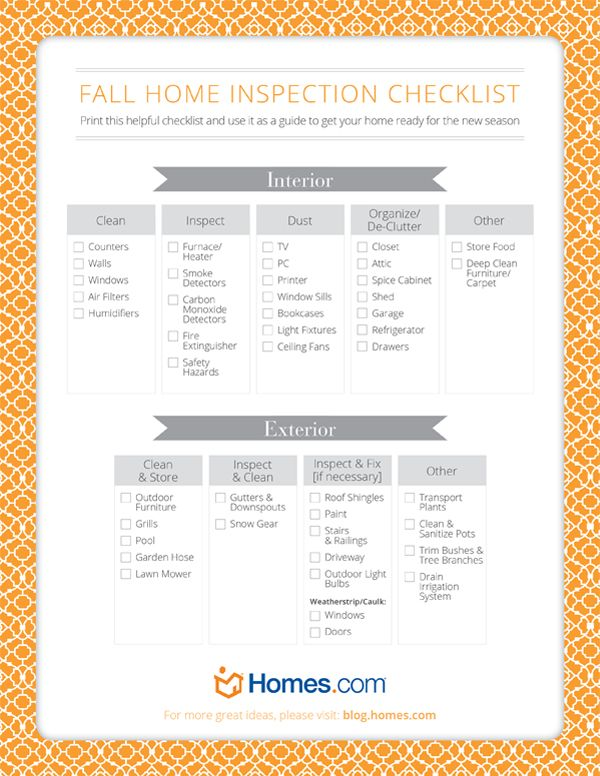 Fall Home Checklist Free Download  Home Manage Binder Free