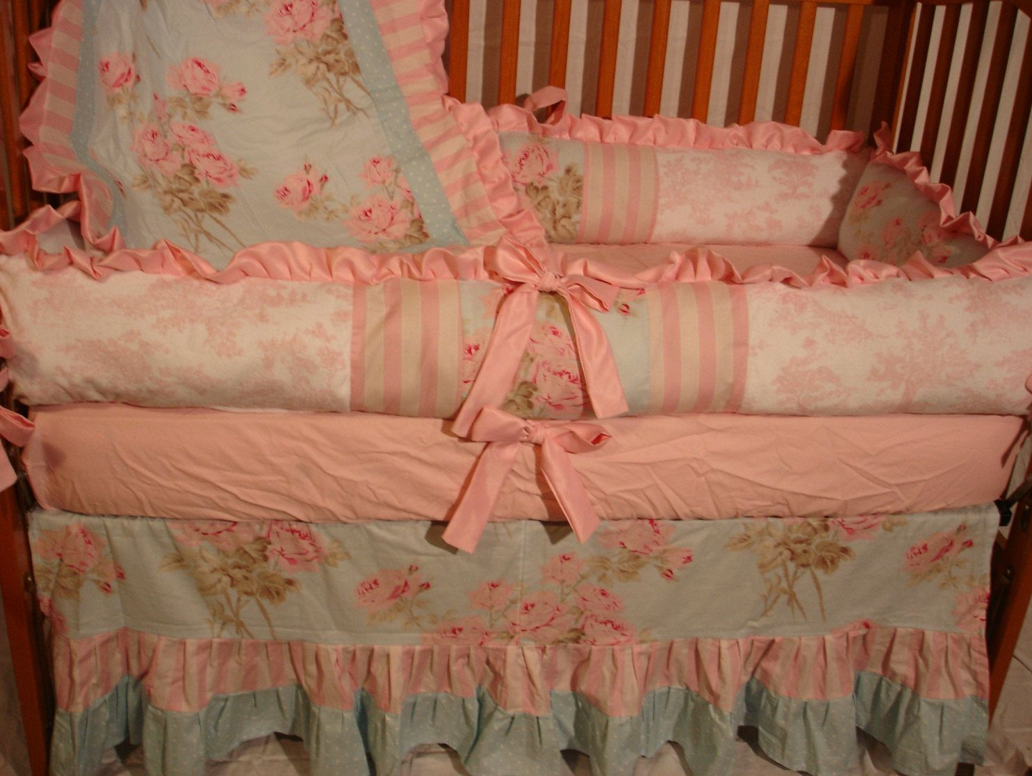 Custom Shabby Chic Pink And Blue Roses Toile By Mellissasboutique 349 99