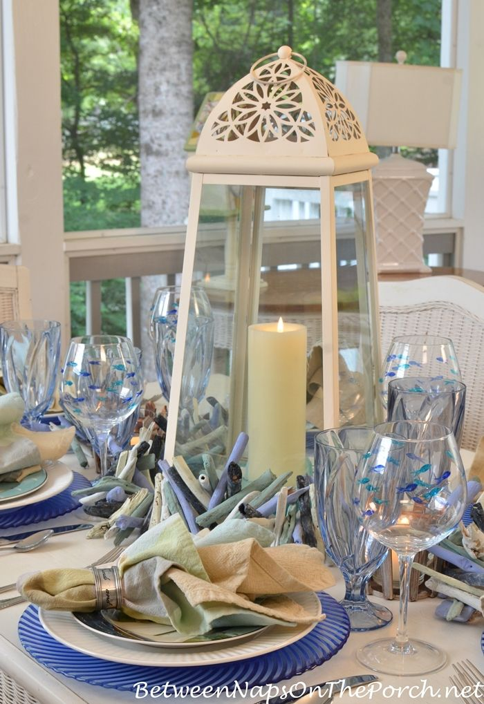 Lighthouse Lantern Centerpiece For Nautical Table Setting By Between Naps  On The Porch
