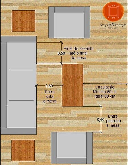 As mesas de centro e apoio na sala de estar