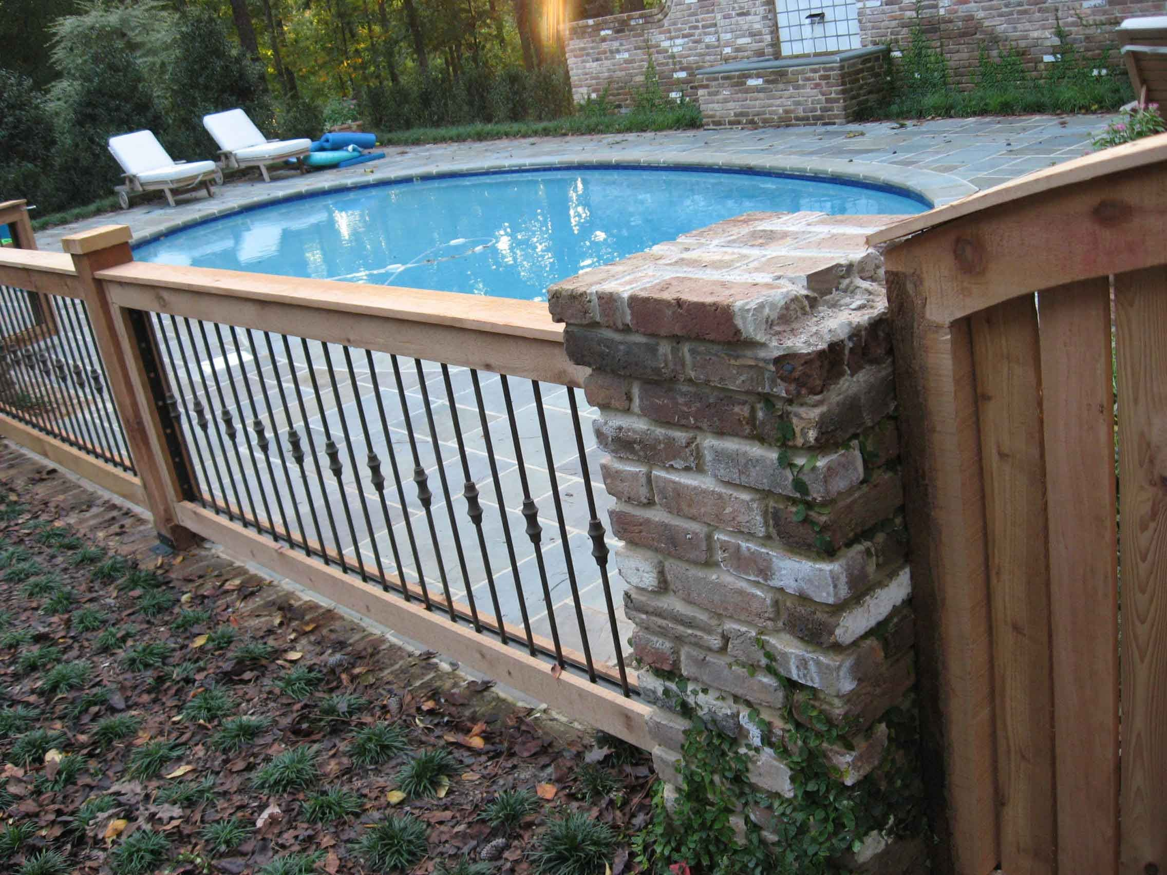 Wrought Iron And Wood Jpg 2272 1704 Fence Around Pool Pool Fence Swimming Pools