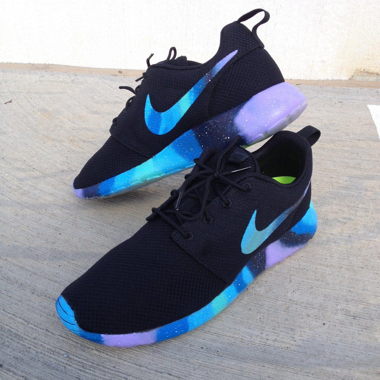 Nike Roshe Run Black Galaxy Swooshes and Sole Custom Women & Men