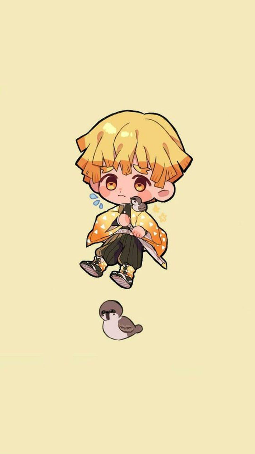 Agatsuma Zenitsu Mobile Wallpaper In 2020 Anime Wallpaper Anime Chibi Cute Anime Wallpaper