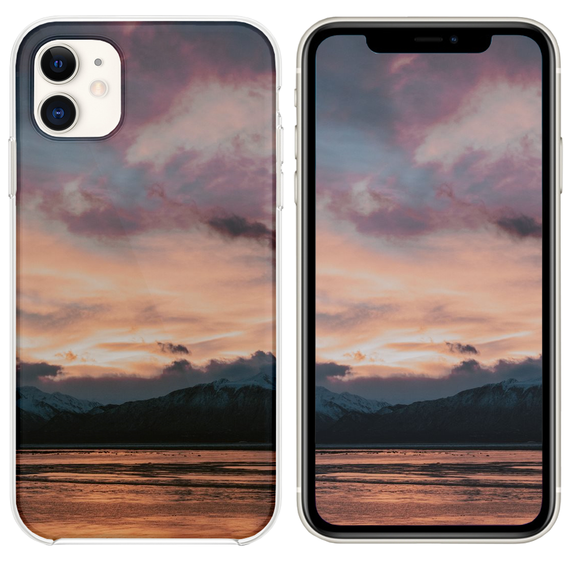 Black Mountain In Front Of Body Of Water Iphone 11 Case And Wallpaper Iphone 11 Black Mountain Iphone