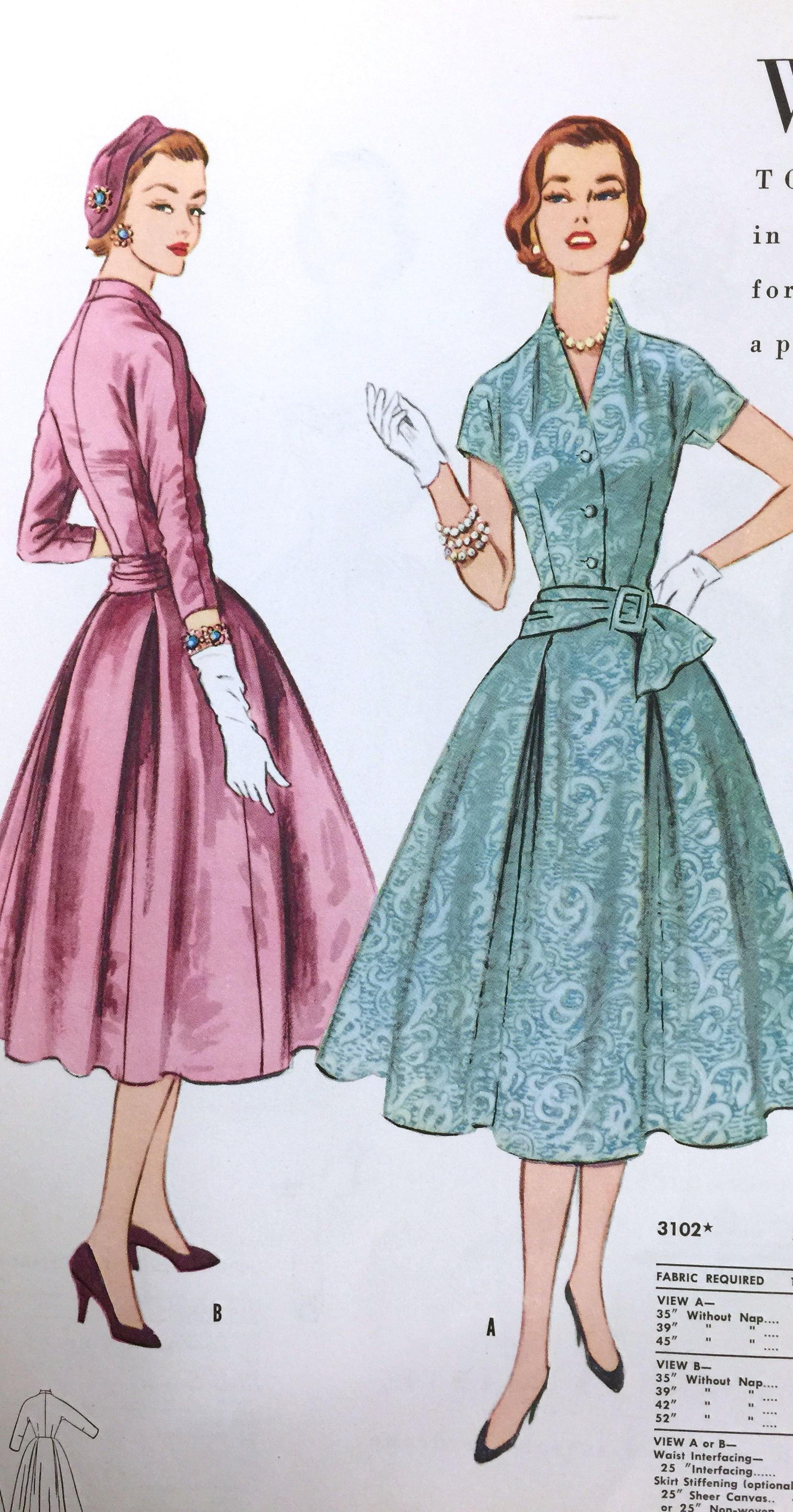 1950 S Butterick Dress Pattern From Our Archives Vintage Dress