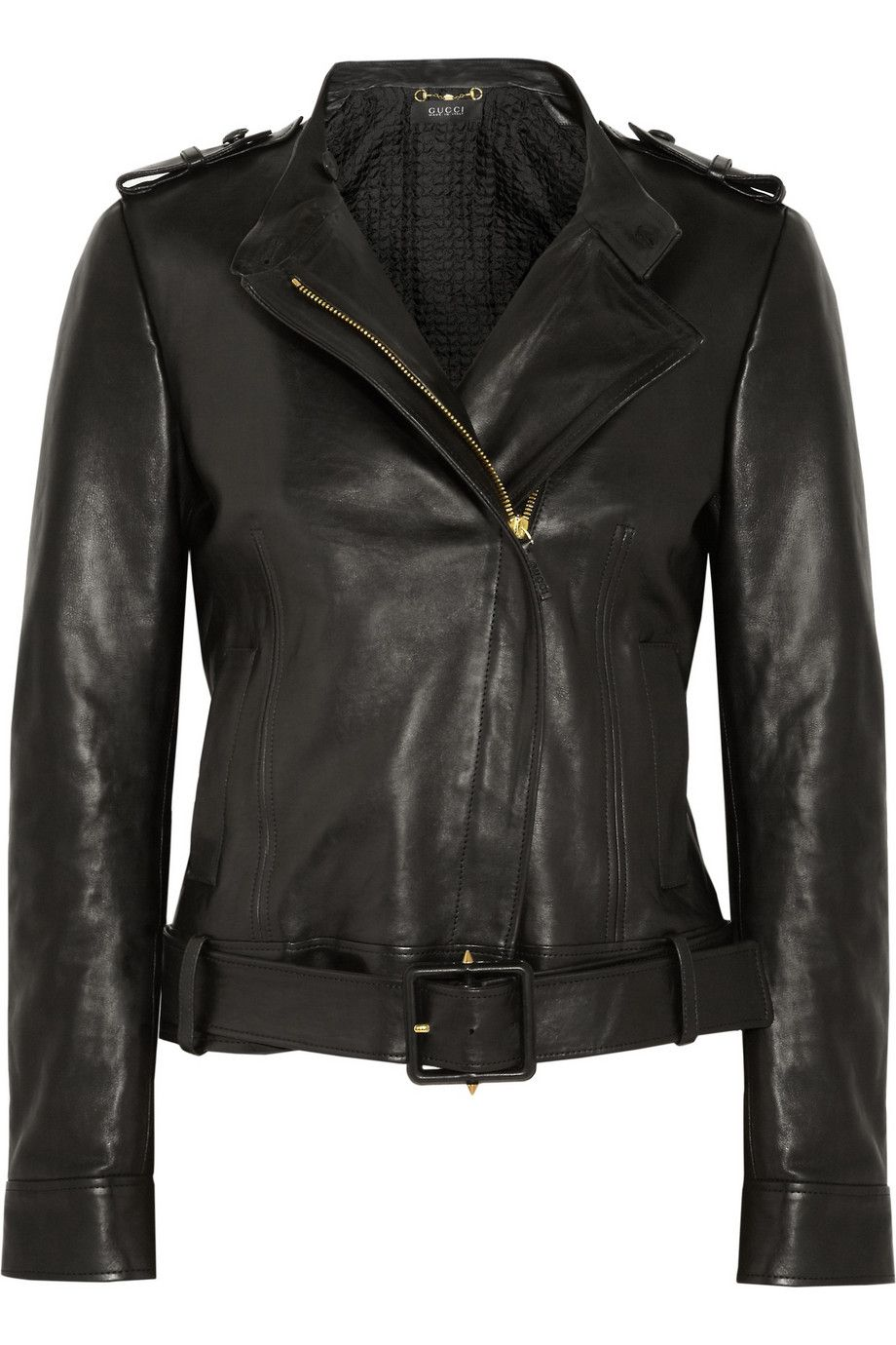 Gucci Belted polished leather jacket