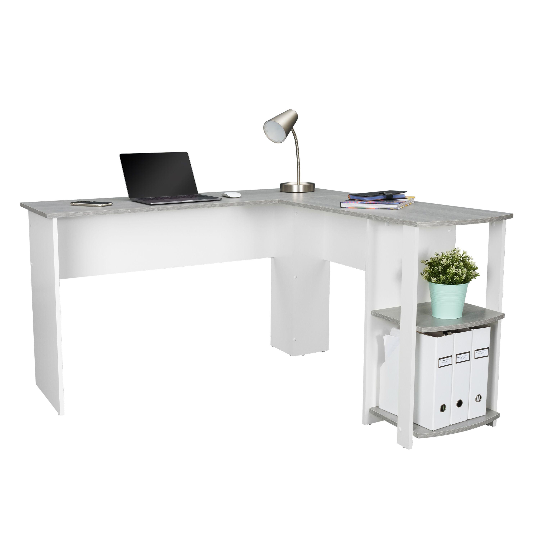 Techni Mobili Modern L Shaped Desk With Side Shelves Grey Walmart Com In 2020 Modern L Shaped Desk L Shaped Desk Desk