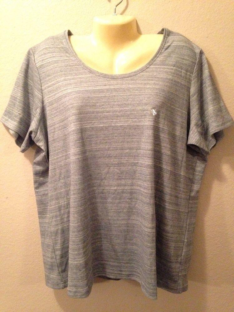 aad8308381 NWT Ladies Plus Size BASIC EDITIONS Gray Stripe Short Sleeve Crew Neck Top  1X #BasicEditions #TShirt