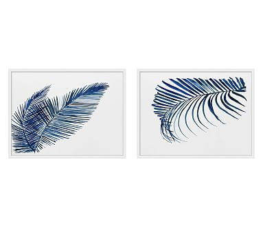 Navy Palms Paper Print Set Of 2 Botanical Wall Art