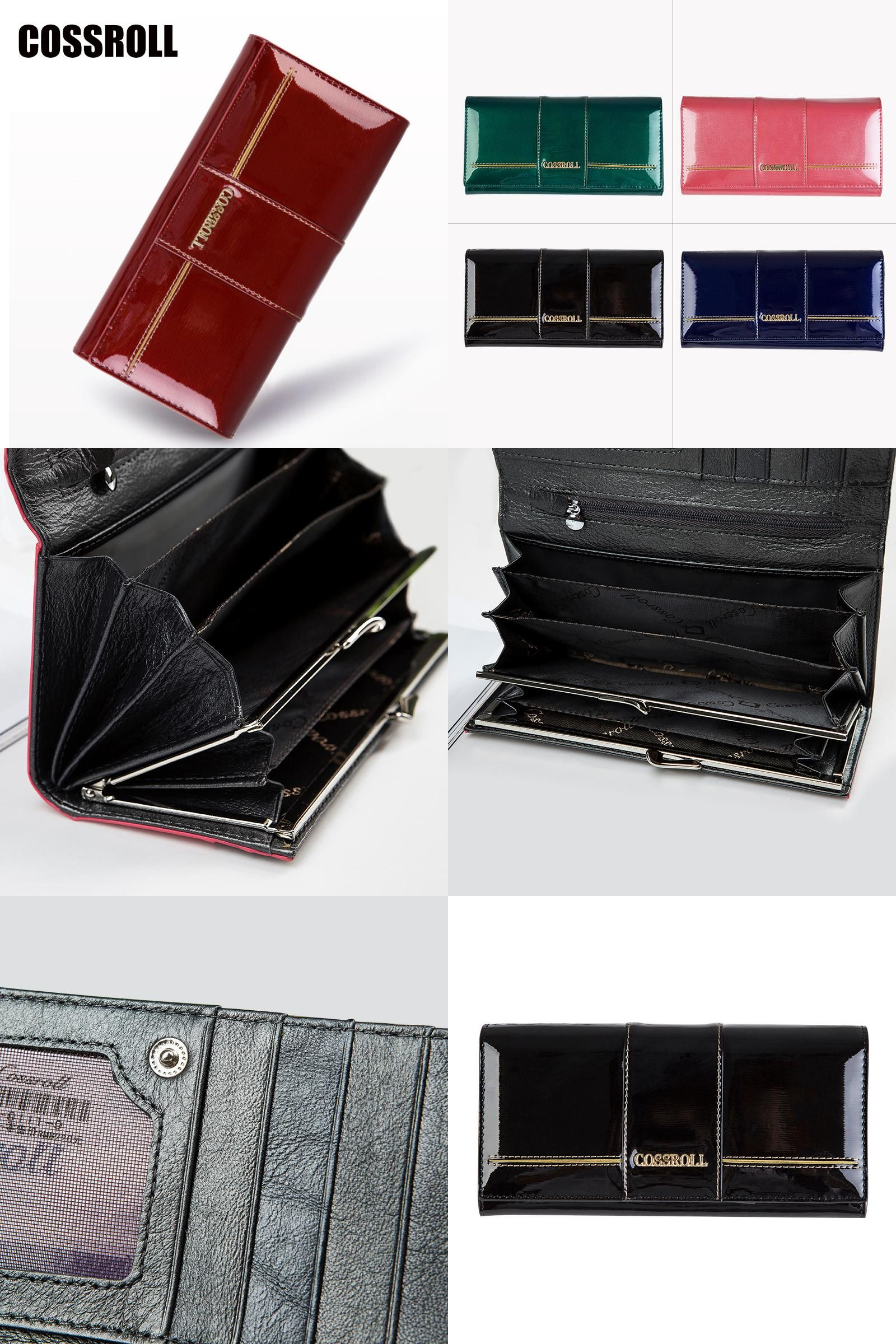 Womens Soft Black Leather Clutch Purse Envelope Style Cards ID Coins Cash Gift Boxed Eden
