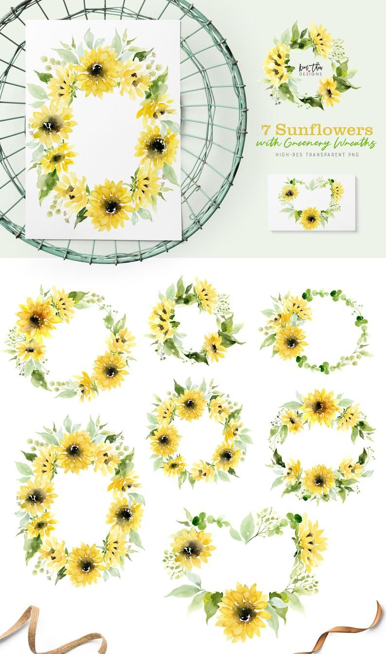 Photo of Sunflower Wreath Watercolor Clipart with Greenery PNG