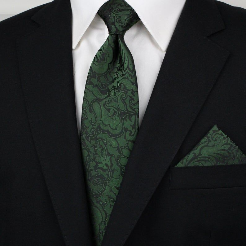 Forest Green Paisley Pocket Square | Elegant Mens Suit Handkerchief in Forest Green and Black with Modern Paisley Design
