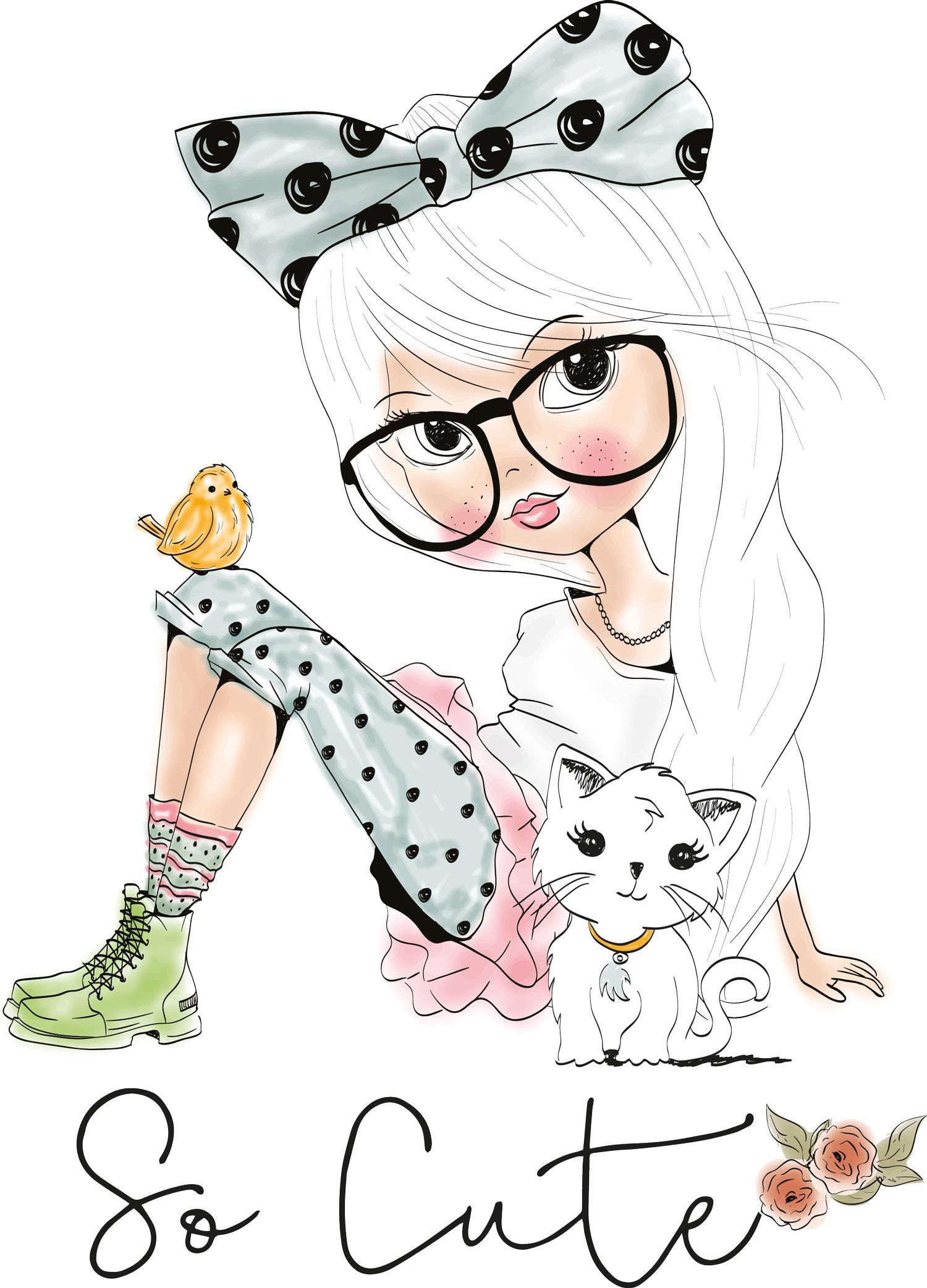 Drawings of girls cute. Wall vk female clipart