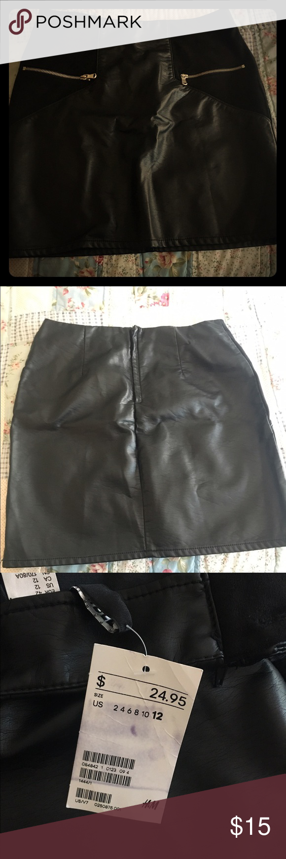 H&M Leather and fabric black skirt Faux Leather black skirt with fabric corners and pockets. NWB and NWT. I'm open to offers and PP and M. Happy shopping! H&M Skirts