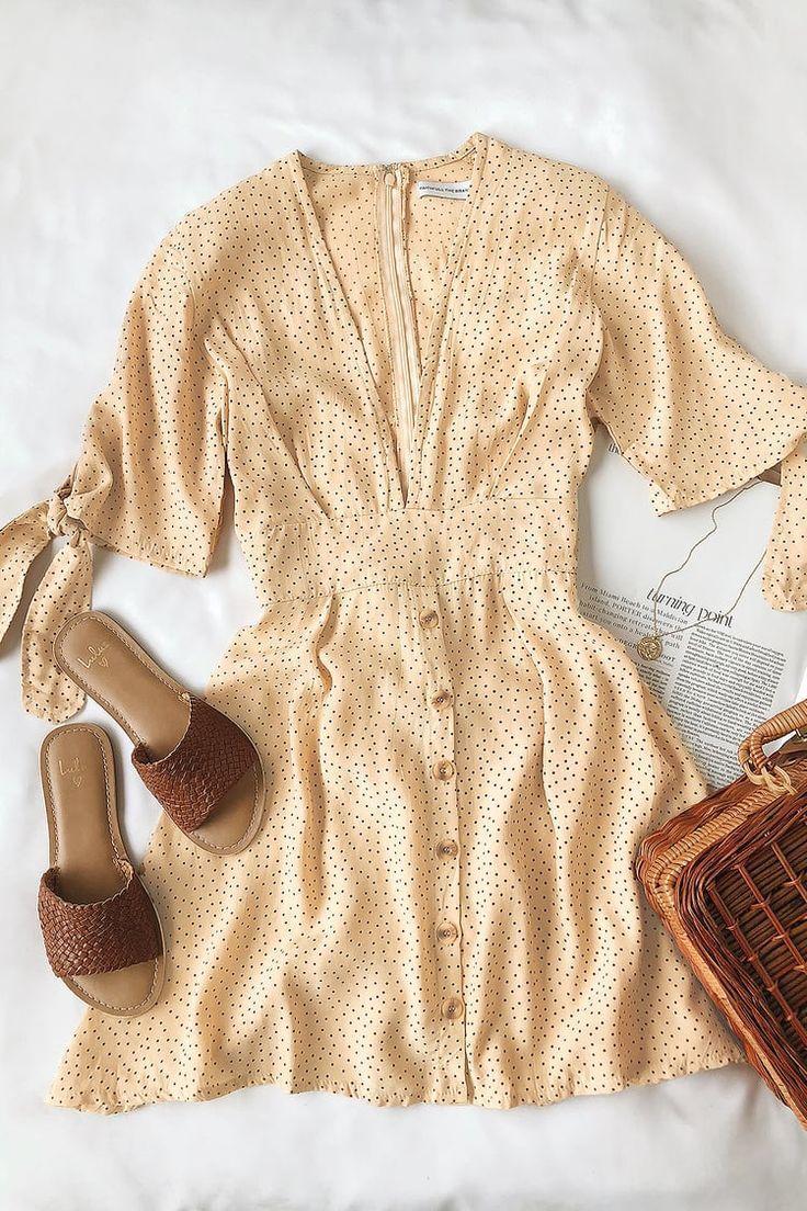 Birgit Beige Polka Dot Mini Dress