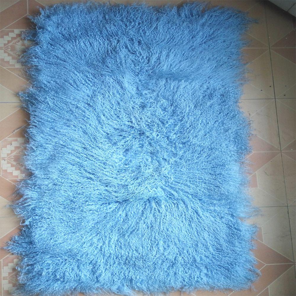 Light blue mongolian fur blanket floor fur carpet rugs bedrooms real