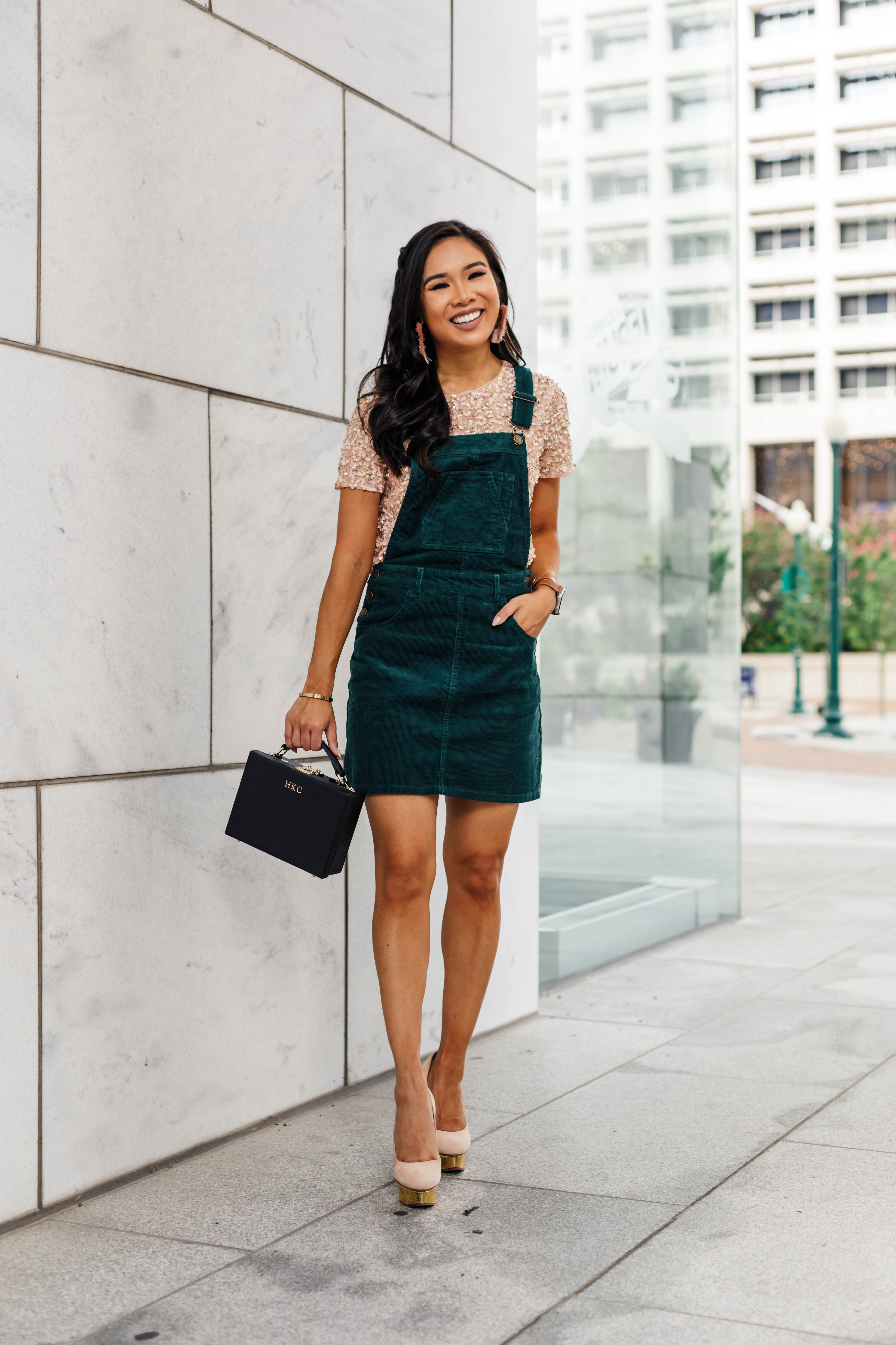 Styling A Corduroy Overall Dress For A Night Out Color Chic Corduroy Overall Dress Overall Dress Fall Dress Outfit [ 6547 x 4365 Pixel ]