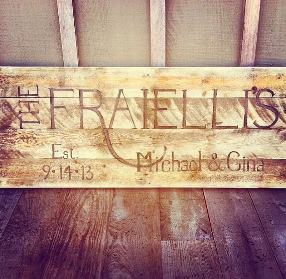 Pallet art last name large wall hanging for home or wedding ...
