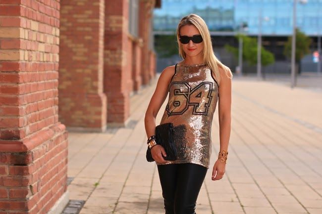 Sequined top and leather pants - ready to go out ...