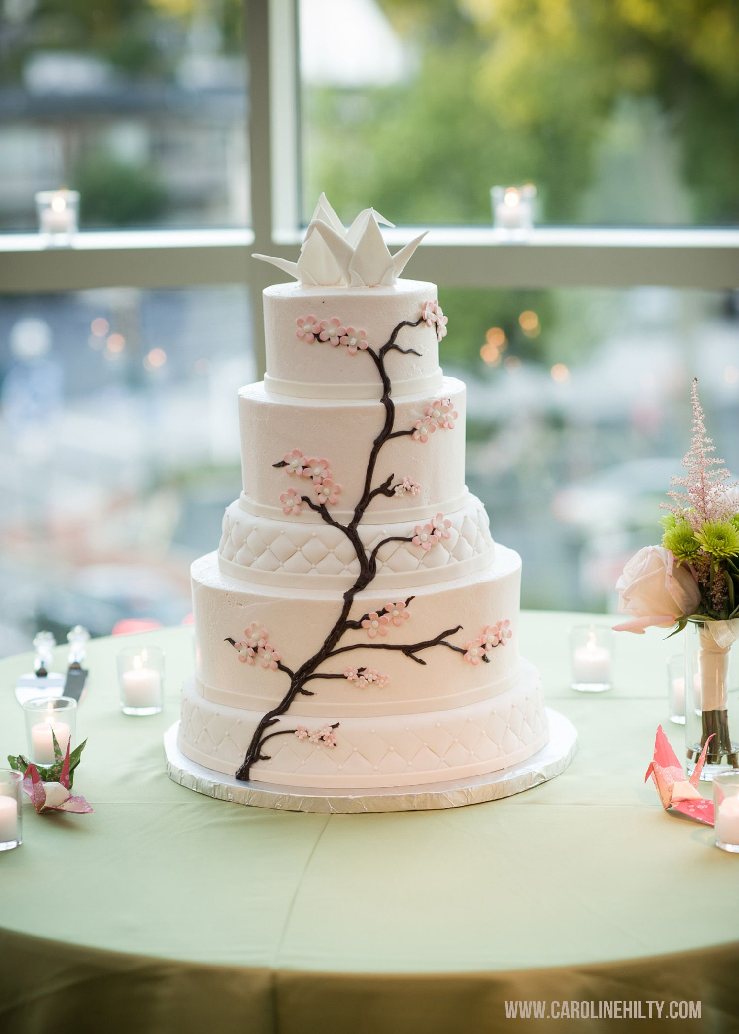 5 tier with cherry blossoms and origami crane cake topper