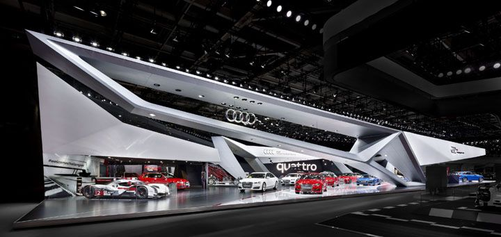 audi booth at paris motor show by kms blackspace trade fairs architecture exhibits. Black Bedroom Furniture Sets. Home Design Ideas