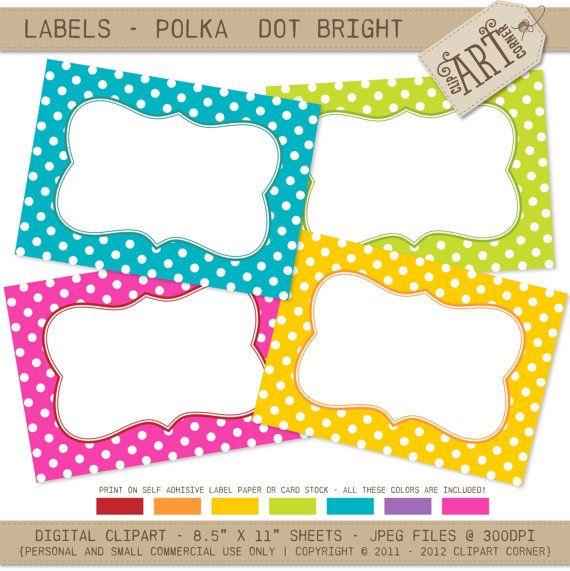 Printable Labels - Bright Polka Dots / address labels / name tags