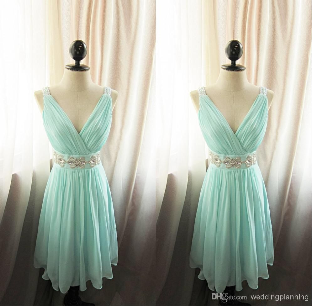 Amazing pleated vneck aline short bridesmaid dress with crystal