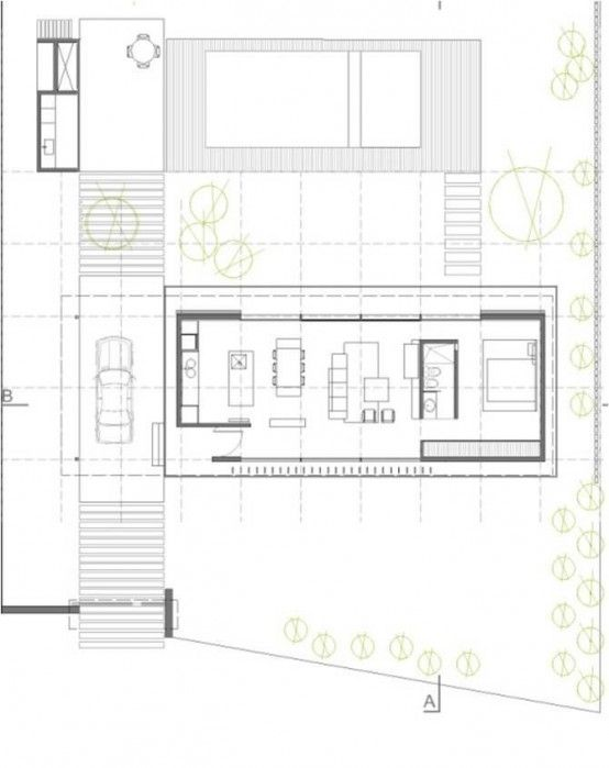 Open To Outdoors Horizontal House Plan in Argentine Countryside ...